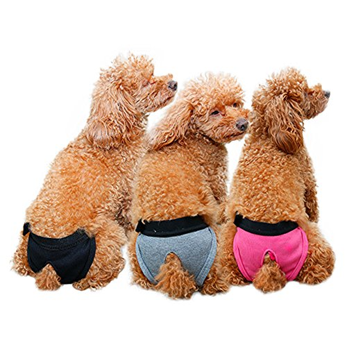 Kuoser 3 PCS Reusable Washable Female Dog Diaper Durable Velcro Doggie Diapers pants Sanitary Pants Underwear Panty For Pet Dog Puppy Teddy (M(Waist14.17