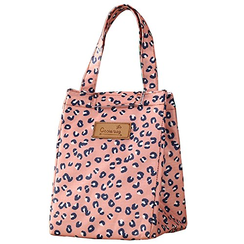 Urmiss Cute Insulated Lunch Bag Box Tote Cooler Bag Reusable with Adorable Animal Rabbit Leopard Panda Flowers Insulated Lunch Bags for Women Ladies Girls Children Kids Student
