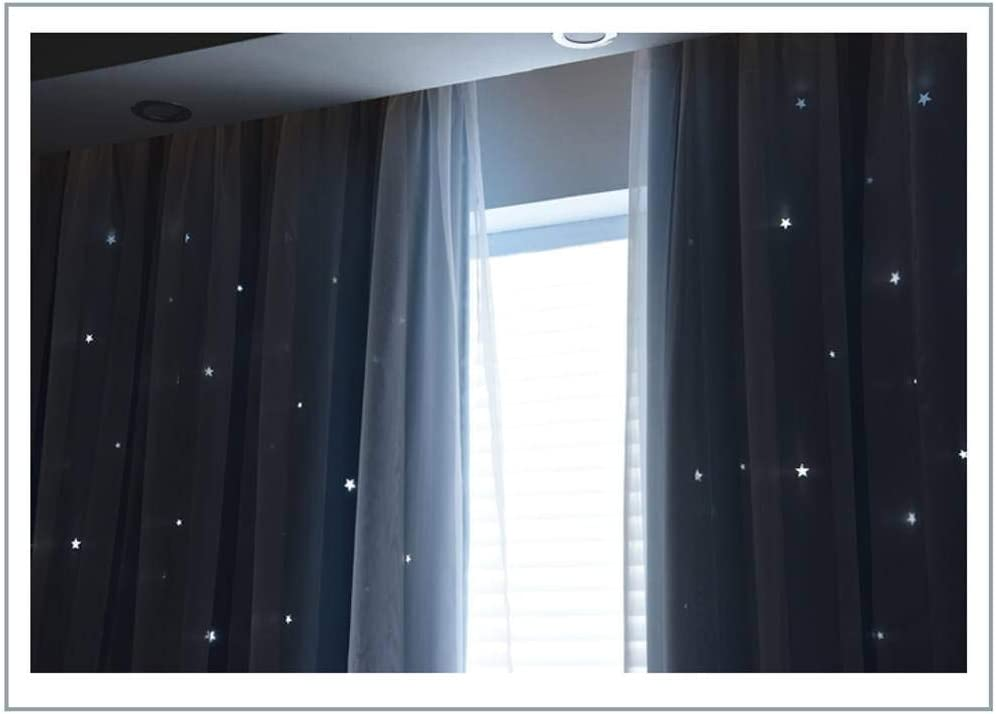 59/×79inch JHLD Curtain Blackout Thermal Insulated Starry Sky Lace with Voile Double Layer Curtains Childrens Room-150/×200cm Room Darkening Drapes for Bedroom -A 1Piece Living Room