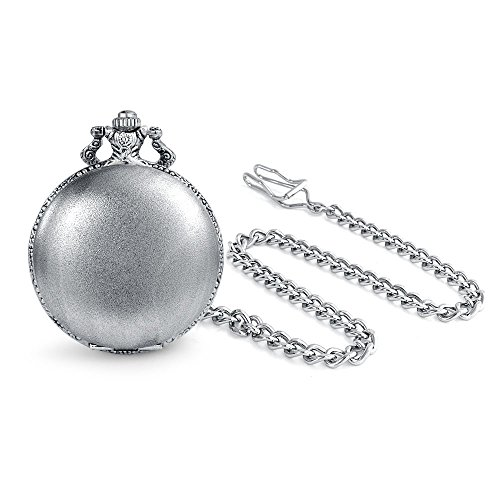 Engravable Roman Numeral Plain Simple Mens Pocket Watch for Men for Grandfather Matt Silver Tone Plated Alloy with Chain
