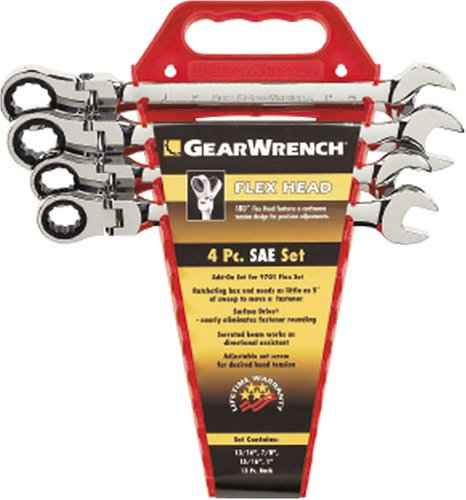 GEARWRENCH 4 Pc. 12 Point Flex Head Ratcheting Combination SAE Wrench Completer Set - 9703 by GearWrench