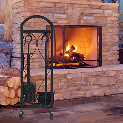 S AFSTAR Safstar 5 Pieces Fireplace Tools Set Fireset Pit Stand Wrought Iron Fireplace Log Rack with Decor Holder Wood Stove Accessories (Black)
