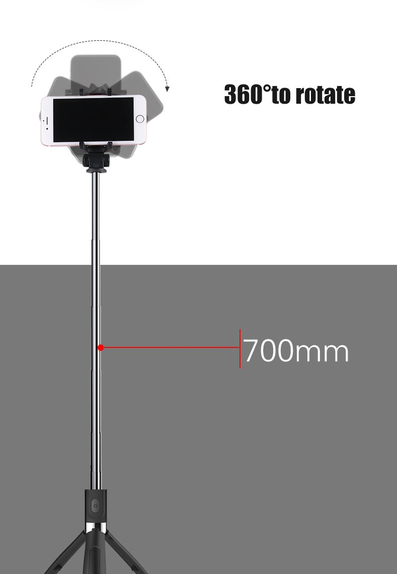 SelfieCom Bluetooth Selfie Stick Tripod Extendable Selfie Stick with Wireless Remote and Tripod Stand Selfie Stick for iPhone X/iPhone 8/8 Plus/iPhone 7/iPhone 7 Plus/Huawei/Samsung/Google (Black)