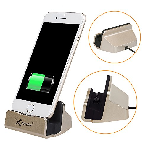 for iPad/iPhone Desk Charging Stand, xhorizon TM SR iPhone Charger Dock Desk Charger Stationc Charge Cradle Sync Stand with Lightning Cable for iPhone SE/7/7plus/6/6s plus/5s/5C iPod Touch 5 iPad Mini