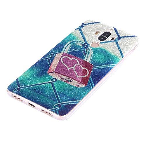 Funda Huawei Mate 9,EUDTH Suave TPU Gel Funda Case Delgado Bling Resplandecer Silicona Fundas Carcasa Espalda para Huawei Mate 9 (5.9 Pulgadas) Love lock Love Lock