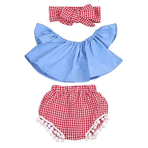 Short Girls Tube (Imcute Cute Baby Girls Short Sleeve Blouse Tube Top+High Waist Pom Pom Short Pants (0-6 Months, 3pcs)