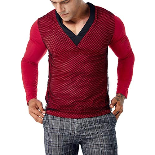 Ankola Men's Casual Mesh Patchwork Slim Long Sleeve Muscle Pollover T Shirt Top Blouse (XL, Red) by Ankola-Men's Blouse
