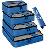 BAGAIL 4 Set Packing Cubes,Travel Luggage Packing Organizers with Laundry Bag Dark Blue