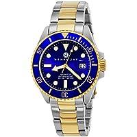 """Henry Jay Mens 23K chapado en oro de dos tonos de acero inoxidable """"Specialty Aquamaster"""", reloj de buceo profesional con fecha (increíble regalo de Navidad)"""