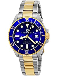 "Mens 23K Gold Plated Two Tone Stainless Steel ""Specialty Aquamaster"" Professional Dive Watch with Date (Amazing Christmas Gift)"