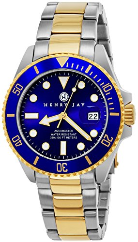 Henry Jay Mens 23K Gold Plated Two Tone Stainless Steel 'Specialty Aquamaster' Professional Dive Watch with Date (Amazing Christmas Gift)