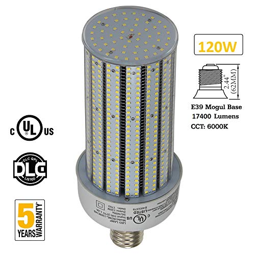 120W LED Corn Bulb Light 400Watt Metal Halide Equivalent 17400Lm High Bay Parking Lot Light Retrofit E39 Mogul Base 6000K Daylight AC100-277V
