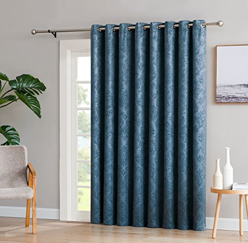 Tan Drapery Velvet Panels - LinenZone Evelyn - 1 Patio Extra Wide Curtain Panel with 16 Grommets - Embossed Thermal Weaved Blackout - Noise Reduction Fabric - Ideal for Sliding and Patio Doors (Patio 102