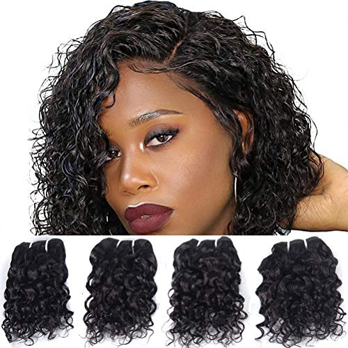 Brazilian Virgin Human Hair Natural Wave 4 Bundles Remy Human Hair Extentions Unprocessed Natural Curly Wet And Wavy Weave 8A Grade Cheap Natural Black Color 8 Inch 50g/pc (Wet And Wavy Human Hair 8in)