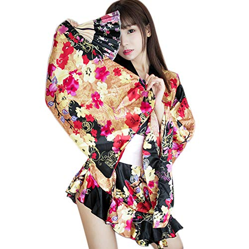 - Women's Sexy Cherry Japanese Kimono Cosplay Costume Silk Floral Deep V Lingerie Robe Sleepwear Dress
