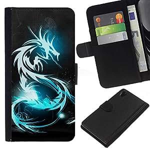 NEECELL GIFT forCITY // Billetera de cuero Caso Cubierta de protección Carcasa / Leather Wallet Case for Sony Xperia Z2 D6502 // BLUE GLOW DRAGÓN TRIBAL