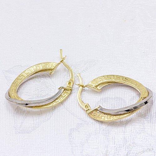 ASS en or 585Femme Bijoux Boucles d'oreilles Boucles d'oreilles créoles motif torsadée bicolore 25x 18mm