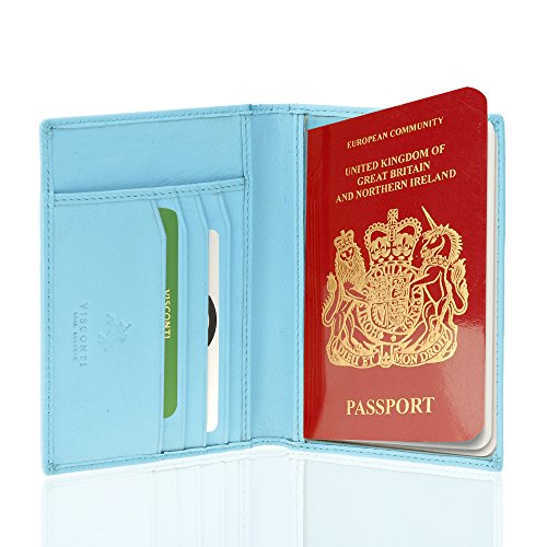 Visconti Soft Leather Secure RFID Blocking Passport Cover Wallet (Sky Blue) by Visconti