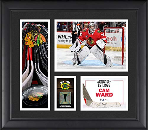 """Cam Ward Chicago Blackhawks Framed 15"""" x 17"""" Player Collage with a Piece of Game-Used Puck - Fanatics Authentic Certified"""