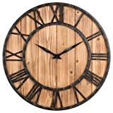 16 Inch Rustic Barn Vintage Wall Clock Bronze Metal & Solid Wood Noiseless Big Oversized Wall Clock Analog Quartz Large Decorative Wooden Clock for Living Room Bedroom and Dining Room (Vintage)