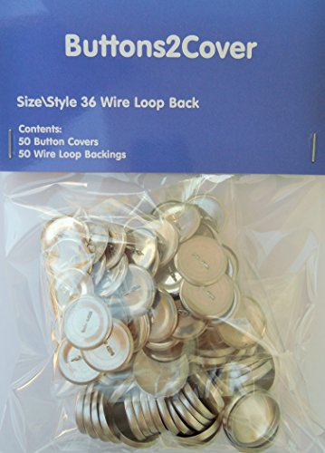 50 Buttons2Cover WIRE LOOP BACK Cover Buttons Size 36 (7/8