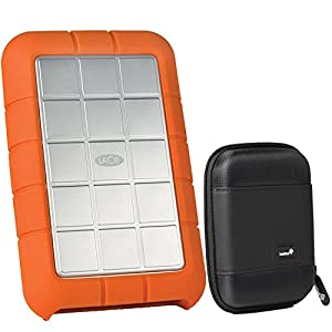 LaCie Rugged Triple USB 3.0 / Firewire 800 1TB Portable Hard Drive STEU1000400 and Ivation Compact Portable Hard Drive Case (Large)