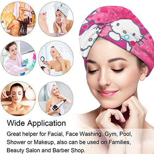 Hair Towel Wrap Turban Hello Kitty Lowing Bubbles Microfiber Drying Bath Shower Head Towel With Button, Dry Hair Hat (Blower Kitty Bubble Hello)