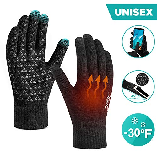 Winter Gloves for Men Women Touch Screen Glove with Warm Thermal Soft Lining Elastic Cuff Triangle Anti-Slip Silicone for Texting Game Running Snowing Outdoor Shooting Motorcycle Cycling Bike SportsBM
