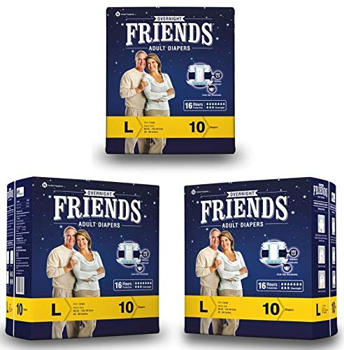 Friends Overnight Adult Diapers Tape Style – 30 Count (Large) with odour lock and Anti-Bacterial Absorbent Core- Waist…