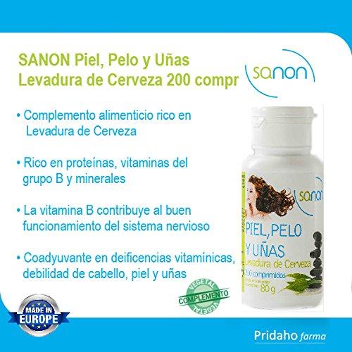 Sanon Piel, Pelo y Uñas, Levadura de Cerveza, 200 Comprimidos de 400 mg: Amazon.es: Salud y cuidado personal