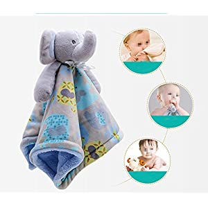FULLANT Security Blanket Soothing Toy Soft Plush Teething Cloths Towel Toys for 0 to 36 Months Baby & Toddler – Kids Boys Girls Gift (Blue)