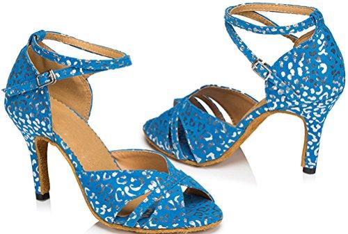 Abby Womens Nouveau Mode Cheville Sangle Latin Personnalisé Talon Peep-toe Satin Professionnel Dance-chaussures Bleu
