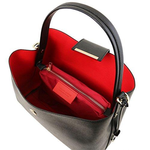 Tuscany Leather Clio - Borsa secchiello in pelle Saffiano - TL141690 (Giallo) Nero