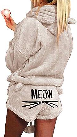 Socluer Pijama de otoño Invierno Mujer Pijama de Dos Piezas Ropa de Dormir patrón de Gato Linda Sudaderas con Capucha Corto: Amazon.es: Ropa y accesorios