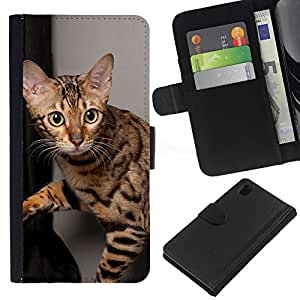 eJoy---La carpeta del tirón la caja de cuero de alta calidad de la PU Caso protector - Sony Xperia Z1 L39 - --Ocicat Shorthair Bengal Savannah Cat
