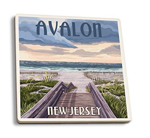 Lantern Press Avalon, New Jersey - Beach Boardwalk Scene (Set of 4 Ceramic Coasters - Cork-Backed, Absorbent)