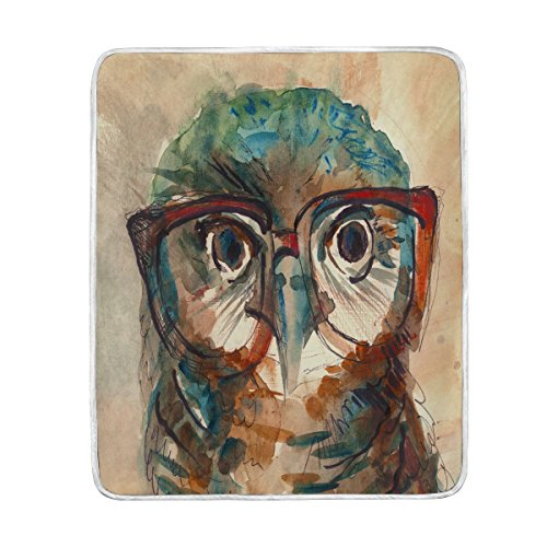 ALAZA Home Decor Hipster Owl with Glasses Watercolor Blanket Soft Warm Blankets for Bed Couch Sofa Lightweight Travelling Camping 60 x 50 Inch Throw Size for Kids Boys Women