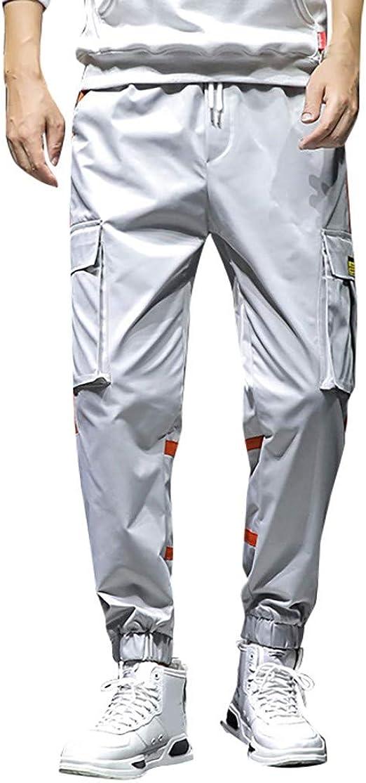 MK988 Mens Drawstring Casual Sport Plus Size Multi Pockets Loose Fit Cargo Pants