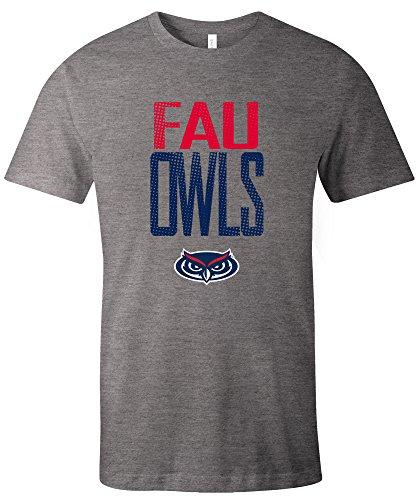 NCAA Florida Atlantic Owls Adult NCAA Dotted Phrase Short sleeve Triblend T-Shirt,Small,Grey
