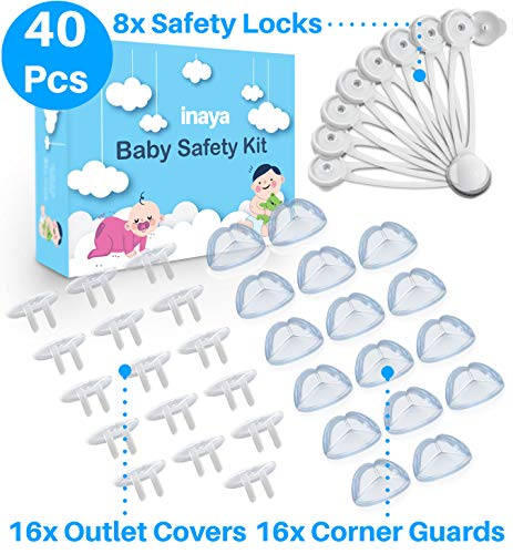 Complete Baby Proofing Kit - 8 Safety Locks, 16 Corner Guards, 16 Outlet Covers - Accident Proof Devices to Keep Your Child Safe at Home - Inaya - Great Gift for Baby Shower & Baby Registry ()