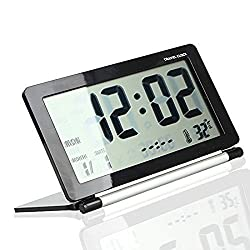 Eway Multifunction Silent LCD Digital Large Screen Travel Desk Electronic Alarm Clock, Date/Time/Calendar/Temperature Display, Snooze, Folding, Black/Silver