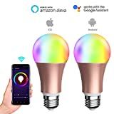 LUAIDA Smart WiFi LED Light Bulb, 8W Smart Dimmable Milticolored Lamp, Compatible with Alexa or Google Home, No Hub Required,16,000,000 Colors Adjustable with Your Smart Phone (Gold 2 Pack)