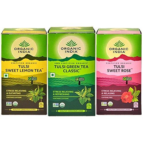 (SUMMER ICE TEA COMBOS - Tulsi Sweet Lemon Tea, Tulsi Green Tea Classic, Tulsi Sweet Rose - 25 Tea Bags Each)