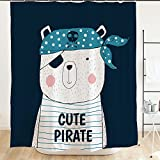 Ofat Home Cute Pirate Bear Shower Curtains with Hooks 71''x71'' Cartoon Baby Animal Waterproof...
