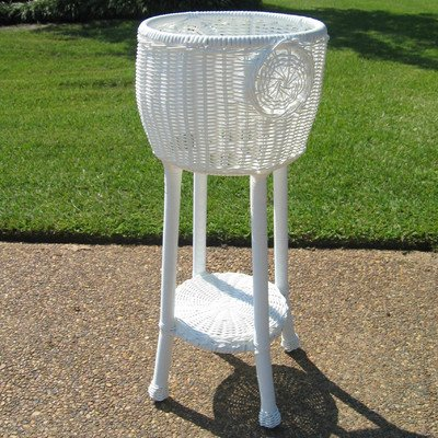 International Caravan Round Resin Wicker Plant Stand White ()