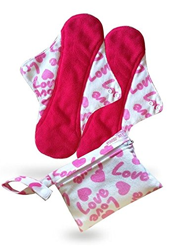 Period Mate Set of Two 12.5 Inches X-long High End Reusable Menstrual Pads with Wet Bag (Pink Hearts)