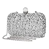 UBORSE Women Wedding Clutch Rhinestone Bling Sequin Evening Bags Vintage Crystal Beaded Cocktail Party Party Purse Silver