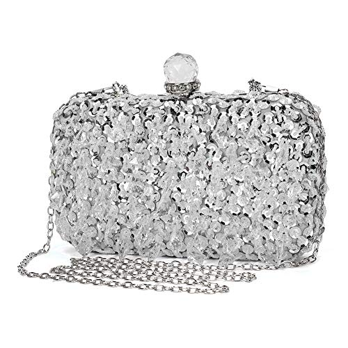 - UBORSE Women Wedding Clutch Rhinestone Bling Sequin Evening Bags Vintage Crystal Beaded Cocktail Party Party Purse Silver