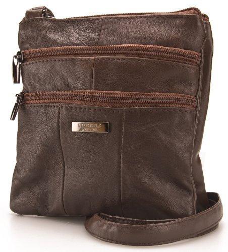Lorenz Ladies Small Genuine Soft Leather Cross Body / Shoulder Bag (1) # 1941 - Chocolate