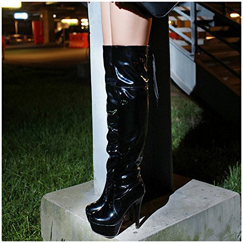 COOLCEPT Damen Stiefel Uber Das Knie 97 Black